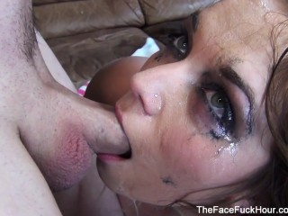 Sensual Brunette Gets Her Face Ruined Raw