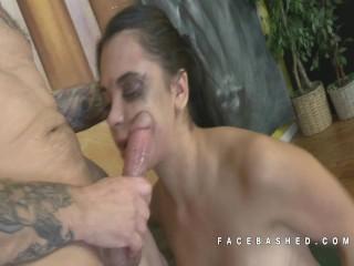 Gia Love Throat Banging Close Up View