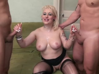 Chubby Escort With Enormous TIts Gets Rough Anal & Throat Fuck By Two Dicks
