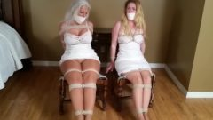 3431 Mouth Stuffing & Generous Wrap Gagging For Chair Tied Vixen Damsels!