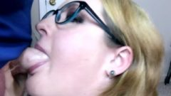 Massive Boobs Cougar In Glasses Give Creamy Deepthroat Gag Blow Job W/ Massive Facial