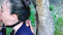 Chained And Skullfucked Against A Tree, Balls Deep Throat Pie #2